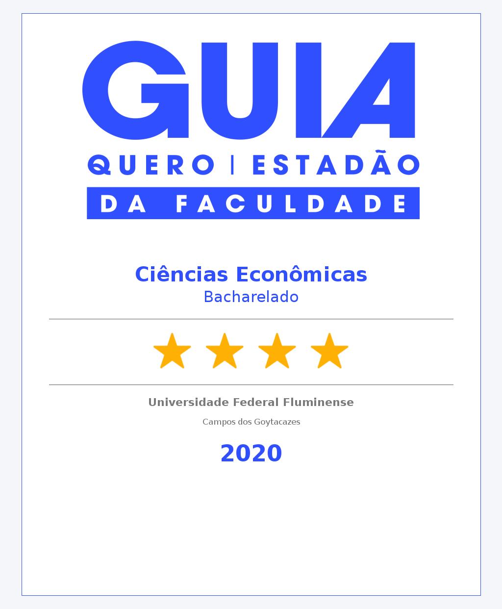 Ciências Econômicas recebe 4 estrelas no Guia da Faculdade (antigo Guia do Estudante)
